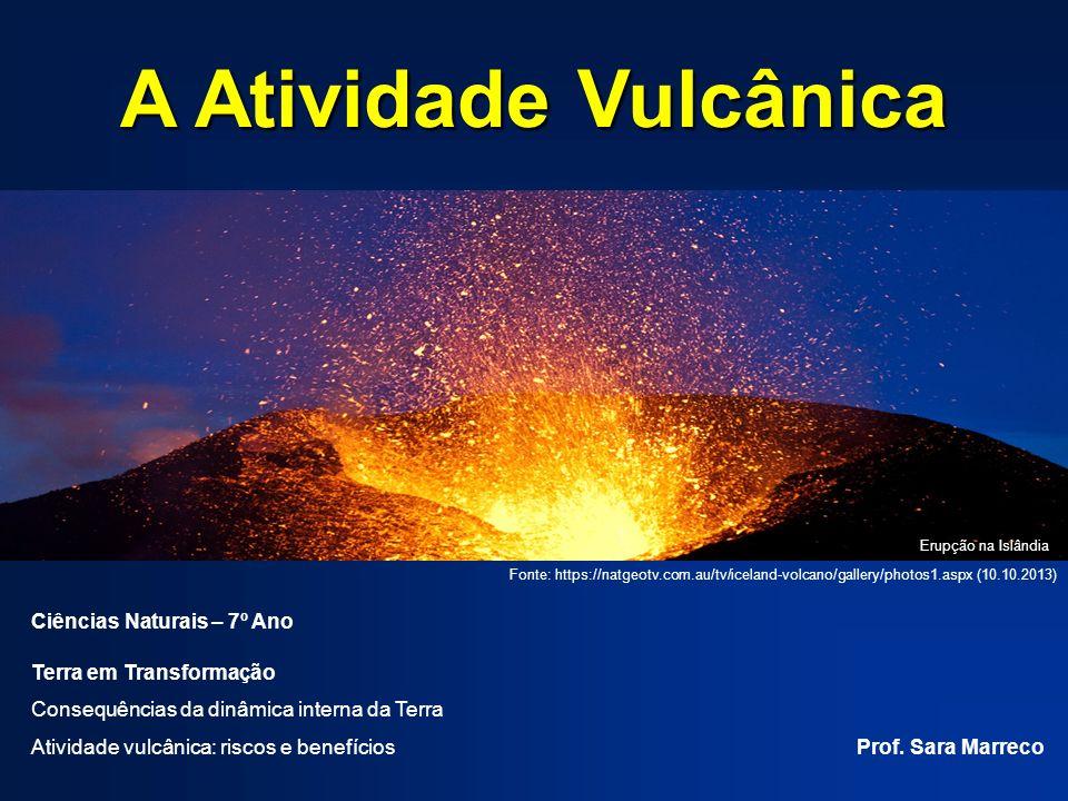 A Atividade Vulcânica Ciências Naturais – 7º Ano Terra em Transformação Consequências da dinâmica interna da Terra Atividade vulcânica: riscos e benefícios Prof.