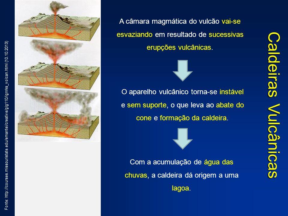 Caldeiras Vulcânicas Fonte: http://courses.missouristate.edu/emantei/creative/glg110/ignrks_volcan.html (10.10.2013) A câmara magmática do vulcão vai-