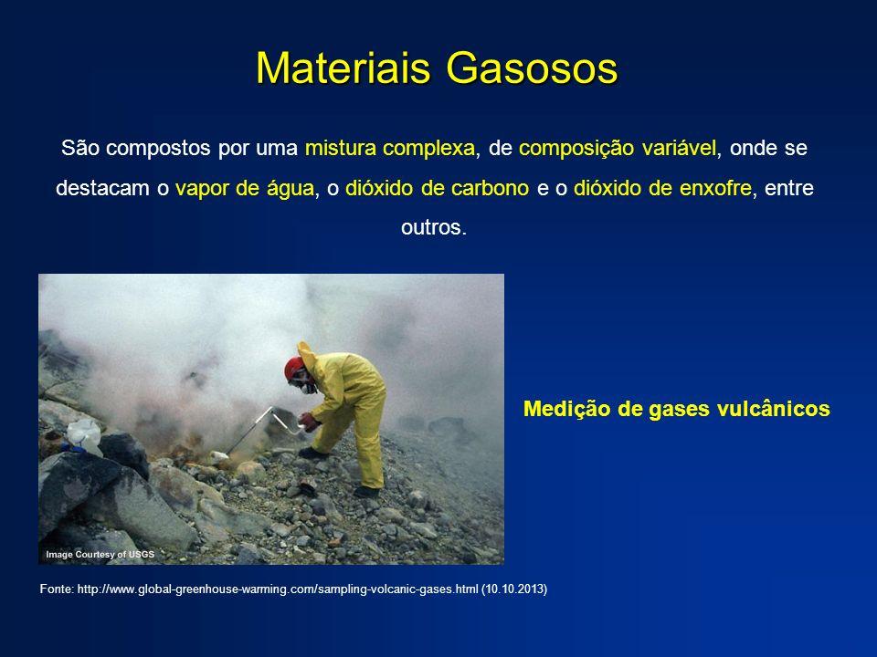 Materiais Gasosos São compostos por uma mistura complexa, de composição variável, onde se destacam o vapor de água, o dióxido de carbono e o dióxido de enxofre, entre outros.