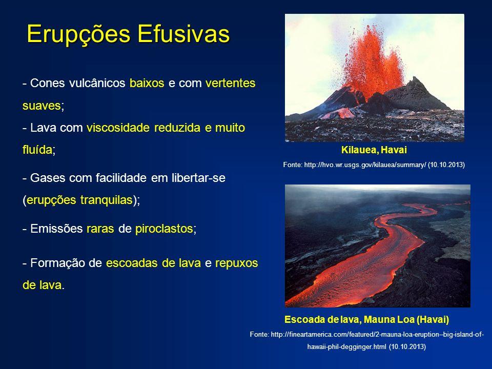 Erupções Efusivas - Cones vulcânicos baixos e com vertentes suaves; - Lava com viscosidade reduzida e muito fluída; - Gases com facilidade em libertar-se (erupções tranquilas); - Emissões raras de piroclastos; - Formação de escoadas de lava e repuxos de lava.