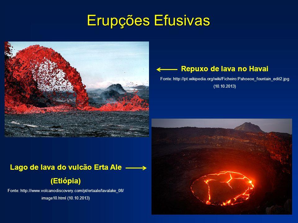 Erupções Efusivas Repuxo de lava no Havai Fonte: http://pt.wikipedia.org/wiki/Ficheiro:Pahoeoe_fountain_edit2.jpg (10.10.2013) Lago de lava do vulcão Erta Ale (Etiópia) Fonte: http://www.volcanodiscovery.com/pt/ertaale/lavalake_08/ image10.html (10.10.2013)