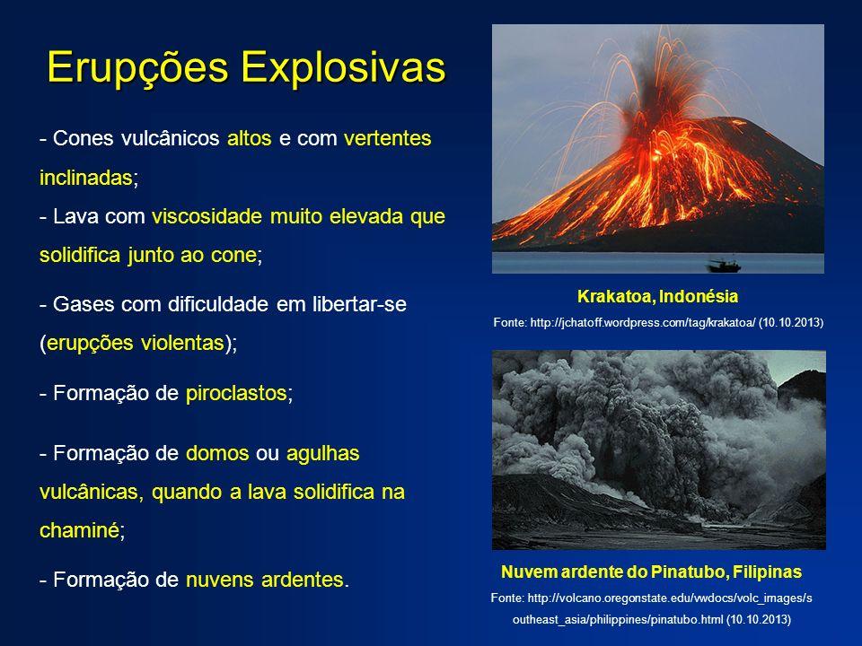 - Cones vulcânicos altos e com vertentes inclinadas; - Lava com viscosidade muito elevada que solidifica junto ao cone; - Gases com dificuldade em libertar-se (erupções violentas); - Formação de piroclastos; - Formação de domos ou agulhas vulcânicas, quando a lava solidifica na chaminé; - Formação de nuvens ardentes.