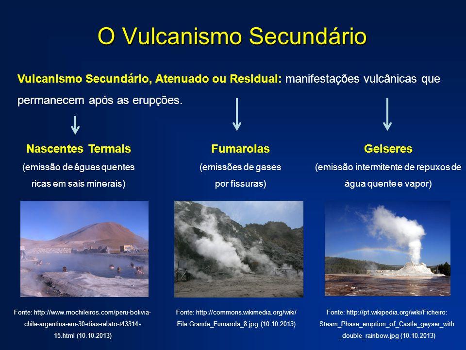O Vulcanismo Secundário Vulcanismo Secundário, Atenuado ou Residual: manifestações vulcânicas que permanecem após as erupções. Fumarolas (emissões de