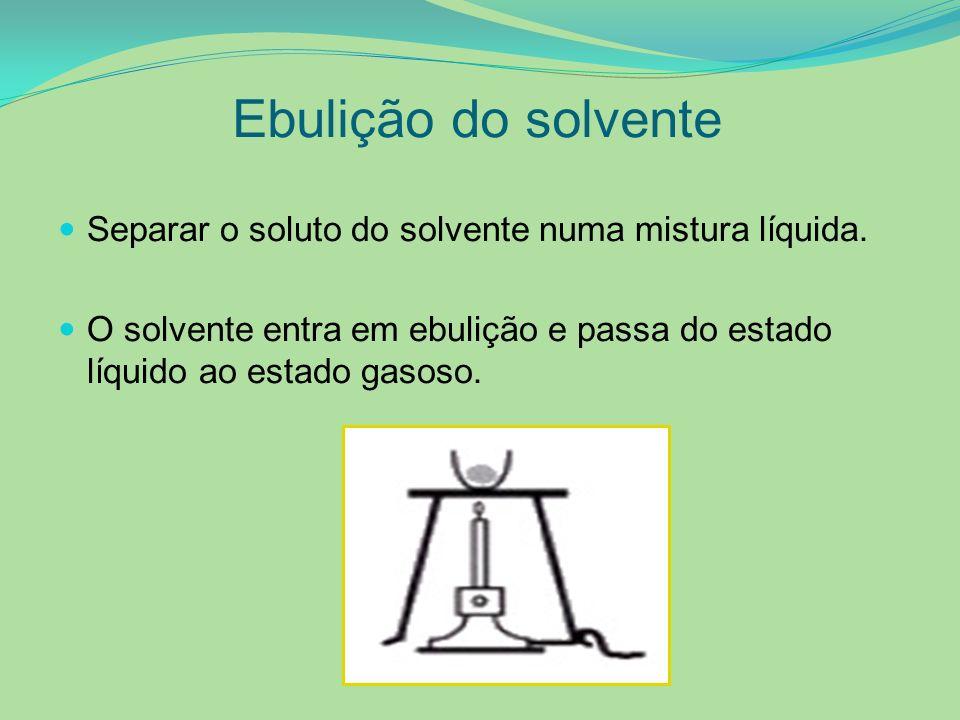 Ebulição do solvente Separar o soluto do solvente numa mistura líquida. O solvente entra em ebulição e passa do estado líquido ao estado gasoso.
