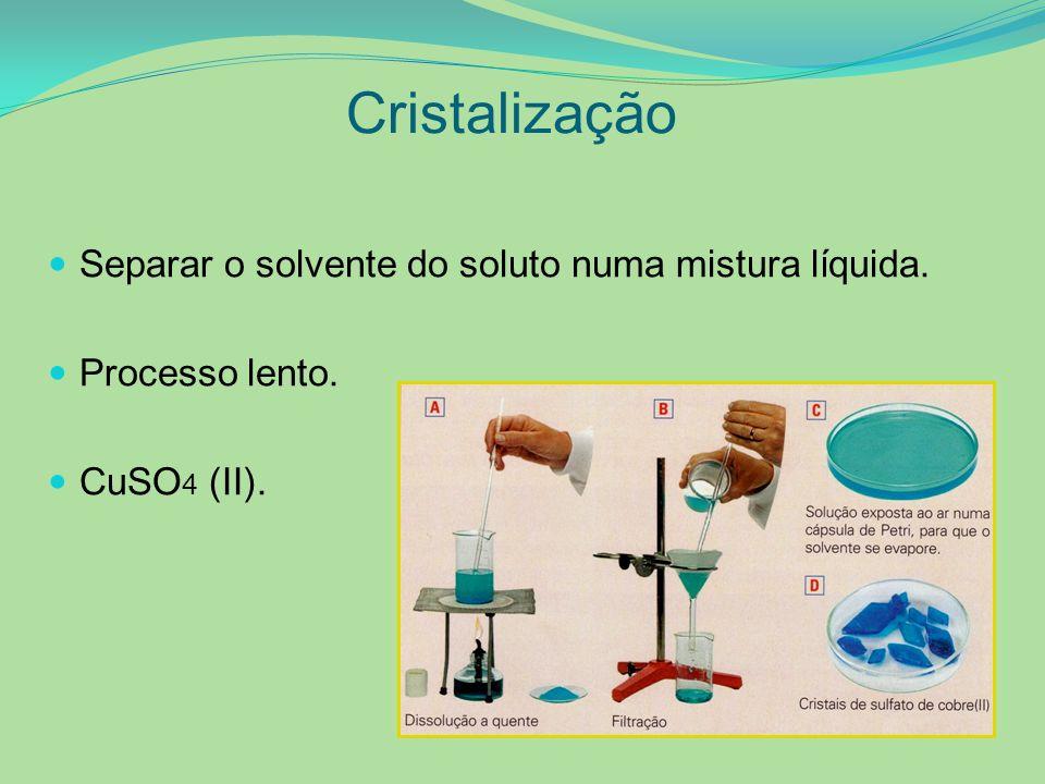 Cristalização Separar o solvente do soluto numa mistura líquida. Processo lento. CuSO 4 (II).