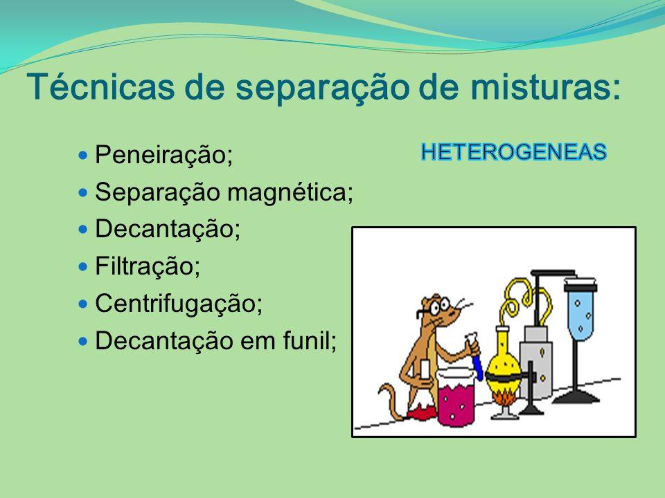Técnicas de separação de misturas: Peneiração; Separação magnética; Decantação; Filtração; Centrifugação; Decantação em funil;