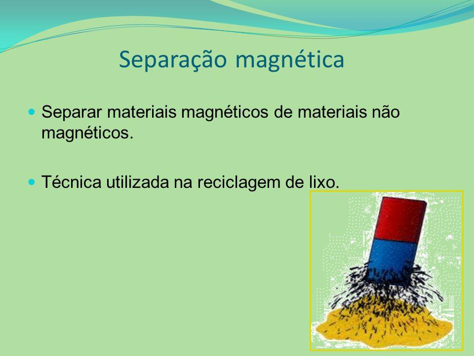 Separação magnética Separar materiais magnéticos de materiais não magnéticos. Técnica utilizada na reciclagem de lixo.