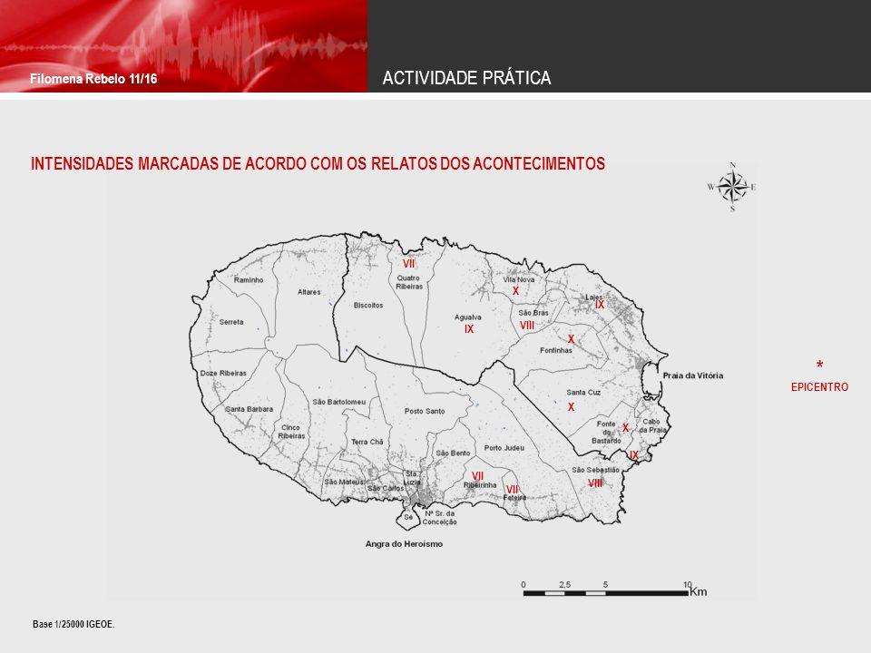 ACTIVIDADE PRÁTICA Filomena Rebelo 11/16 INTENSIDADES MARCADAS DE ACORDO COM OS RELATOS DOS ACONTECIMENTOS Base 1/25000 IGEOE.