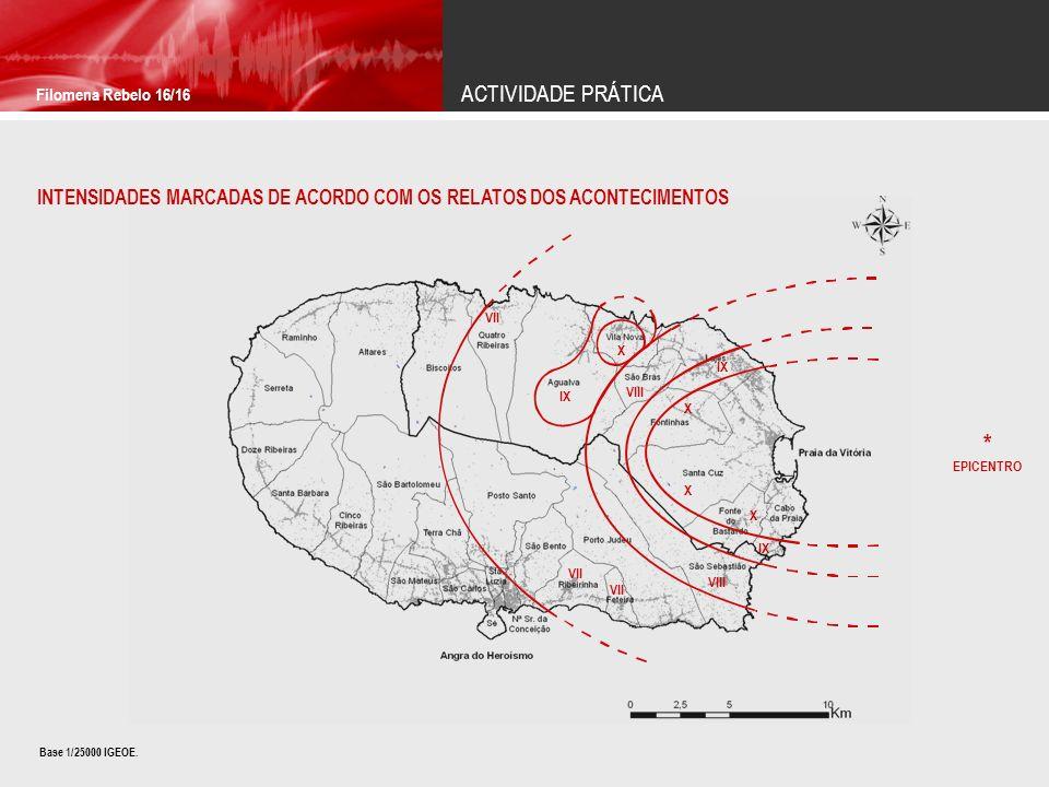 ACTIVIDADE PRÁTICA Filomena Rebelo 16/16 INTENSIDADES MARCADAS DE ACORDO COM OS RELATOS DOS ACONTECIMENTOS Base 1/25000 IGEOE.