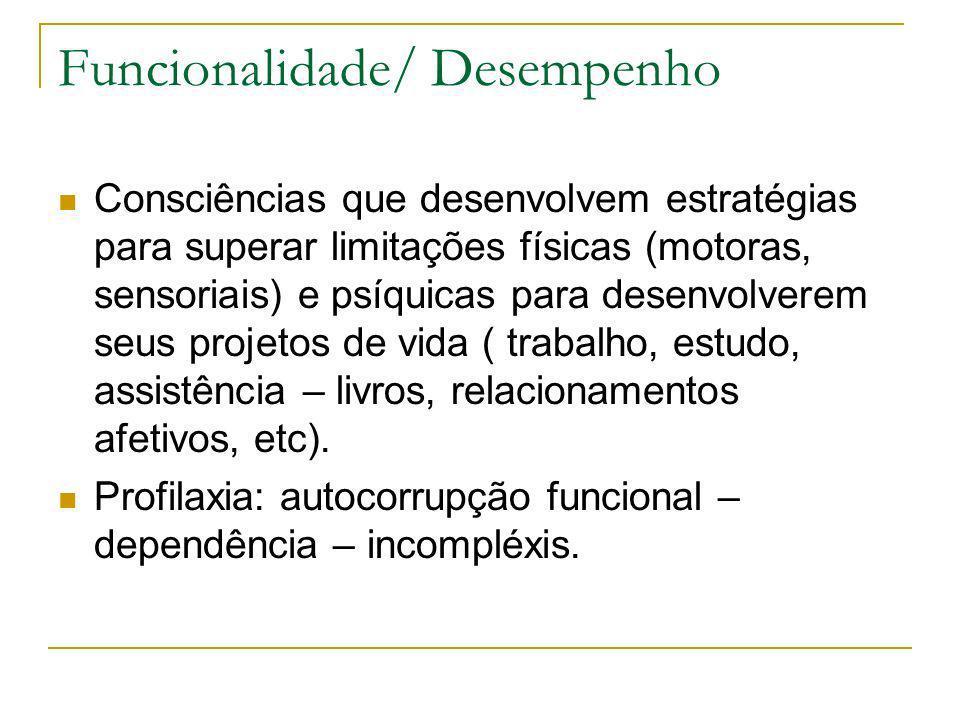 Funcionalidade/ Desempenho Consciências que desenvolvem estratégias para superar limitações físicas (motoras, sensoriais) e psíquicas para desenvolver
