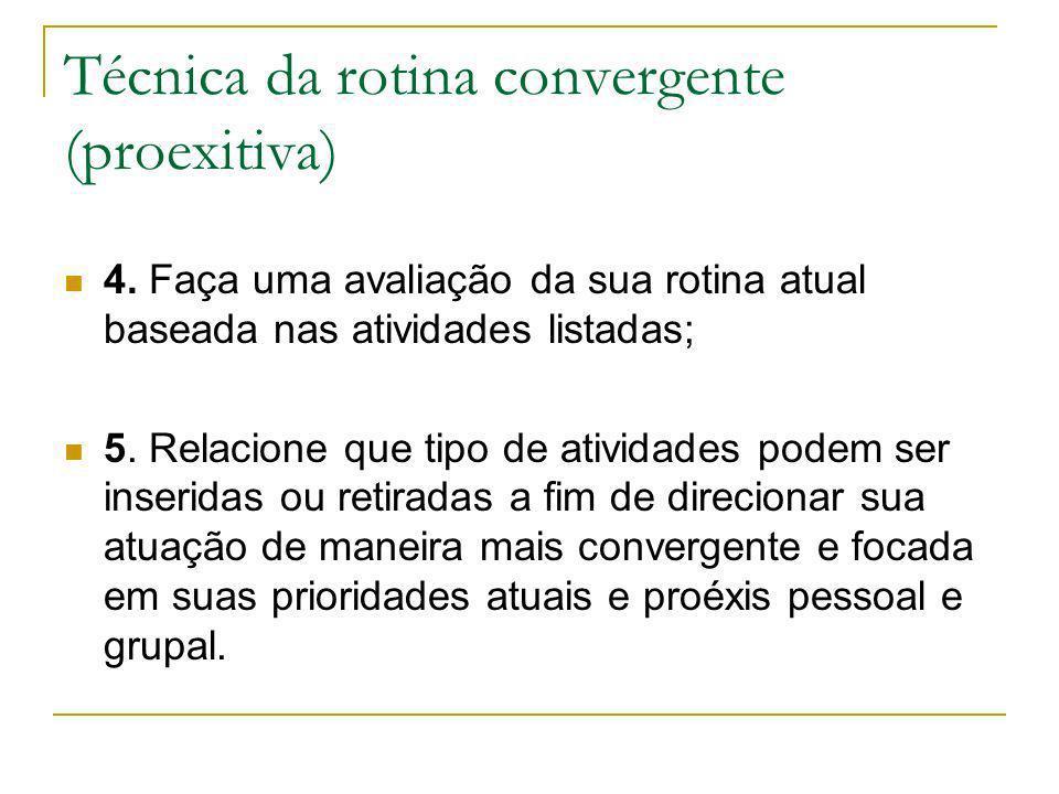 Técnica da rotina convergente (proexitiva) 4. Faça uma avaliação da sua rotina atual baseada nas atividades listadas; 5. Relacione que tipo de ativida