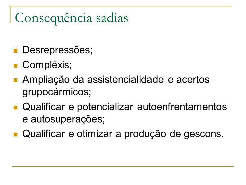 Consequência sadias Desrepressões; Compléxis; Ampliação da assistencialidade e acertos grupocármicos; Qualificar e potencializar autoenfrentamentos e