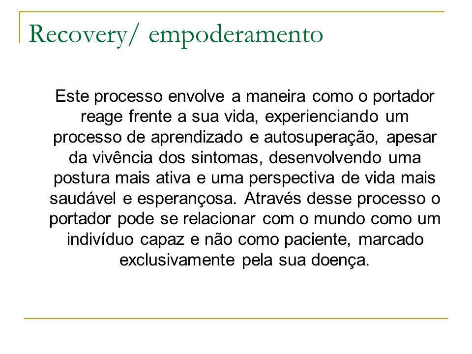 Recovery/ empoderamento Este processo envolve a maneira como o portador reage frente a sua vida, experienciando um processo de aprendizado e autosuper