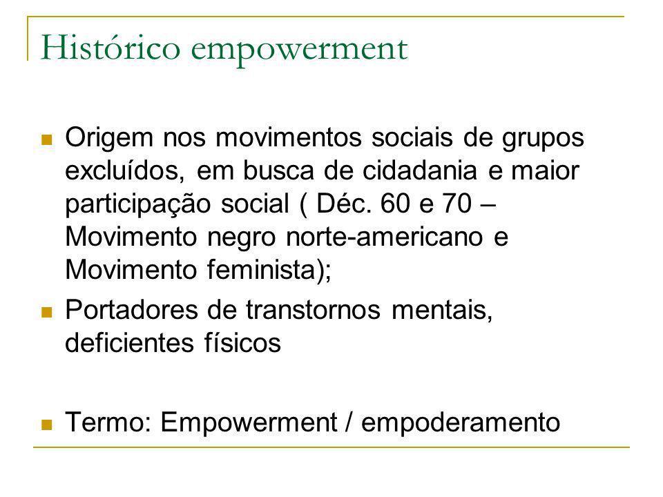 Histórico empowerment Origem nos movimentos sociais de grupos excluídos, em busca de cidadania e maior participação social ( Déc. 60 e 70 – Movimento