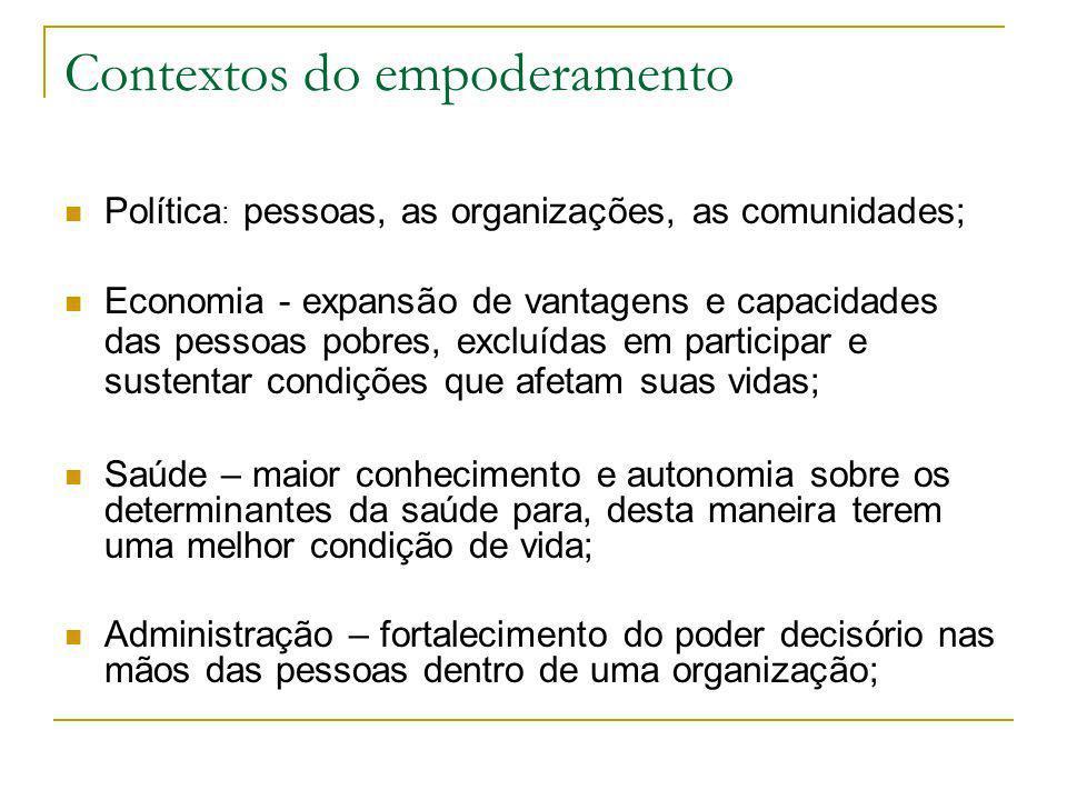 Contextos do empoderamento Política : pessoas, as organizações, as comunidades; Economia - expansão de vantagens e capacidades das pessoas pobres, exc
