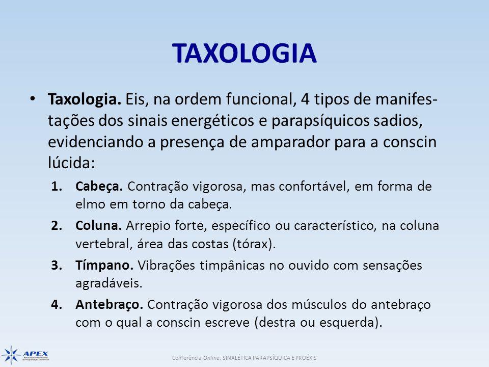 Conferência Online: SINALÉTICA PARAPSÍQUICA E PROÉXIS TAXOLOGIA Taxologia. Eis, na ordem funcional, 4 tipos de manifes- tações dos sinais energétic