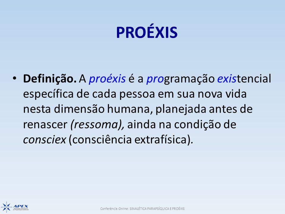 Conferência Online: SINALÉTICA PARAPSÍQUICA E PROÉXIS PROÉXIS Definição. A proéxis é a programação existencial específica de cada pessoa em sua nova v