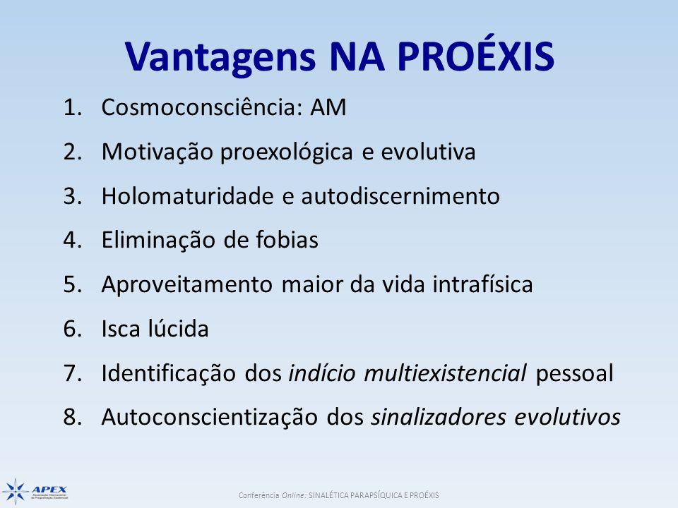Conferência Online: SINALÉTICA PARAPSÍQUICA E PROÉXIS Vantagens NA PROÉXIS 1.Cosmoconsciência: AM 2.Motivação proexológica e evolutiva 3.Holomaturidad