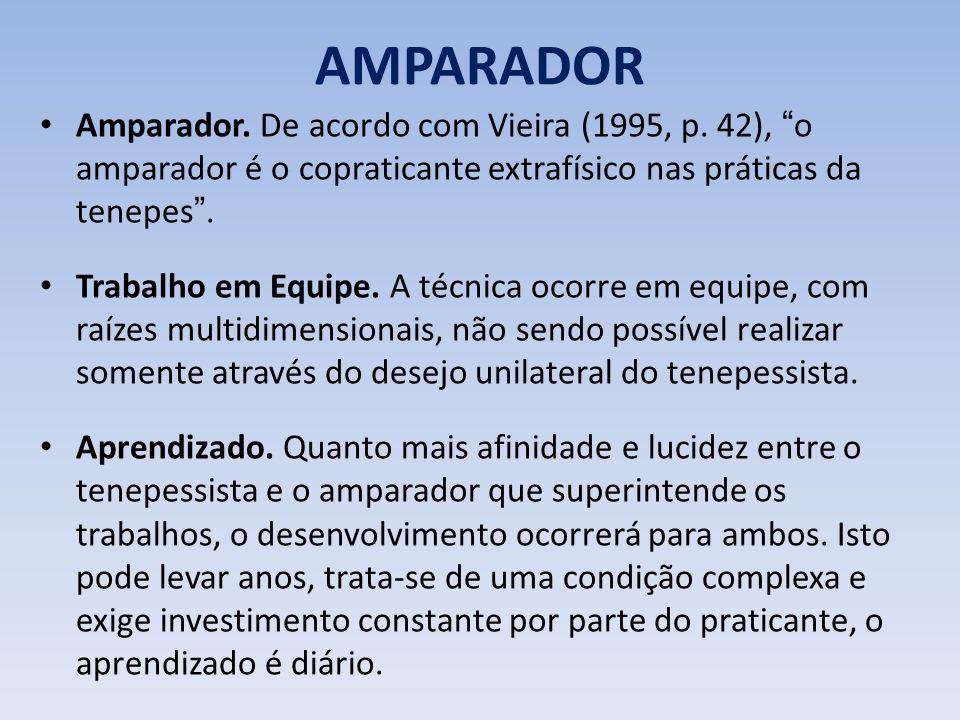 AMPARADOR Amparador. De acordo com Vieira (1995, p. 42), o amparador é o copraticante extrafísico nas práticas da tenepes. Trabalho em Equipe. A técni
