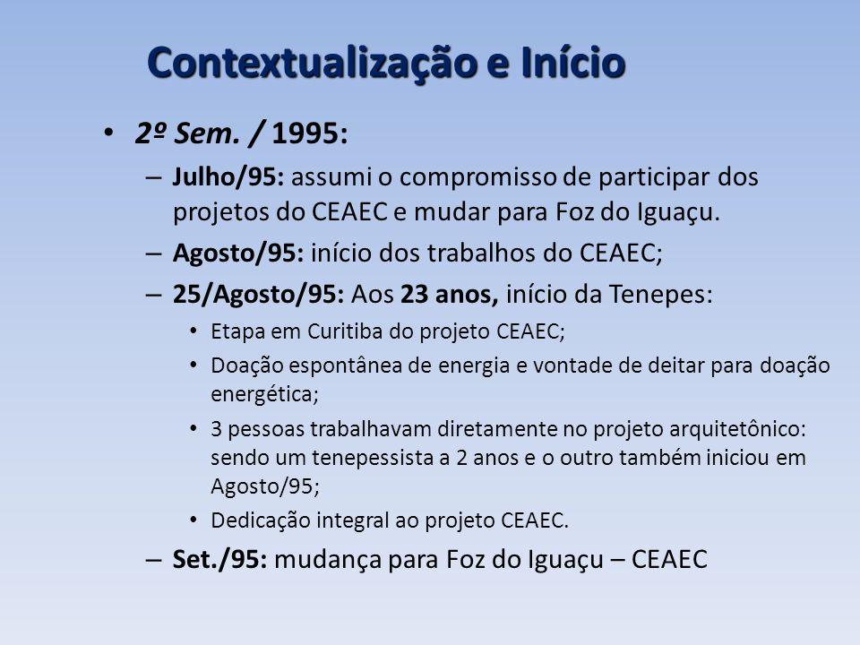 Contextualização e Início 2º Sem. / 1995: – Julho/95: assumi o compromisso de participar dos projetos do CEAEC e mudar para Foz do Iguaçu. – Agosto/95