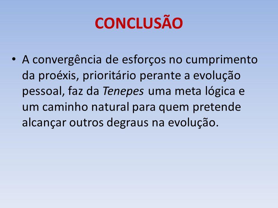CONCLUSÃO A convergência de esforços no cumprimento da proéxis, prioritário perante a evolução pessoal, faz da Tenepes uma meta lógica e um caminho na