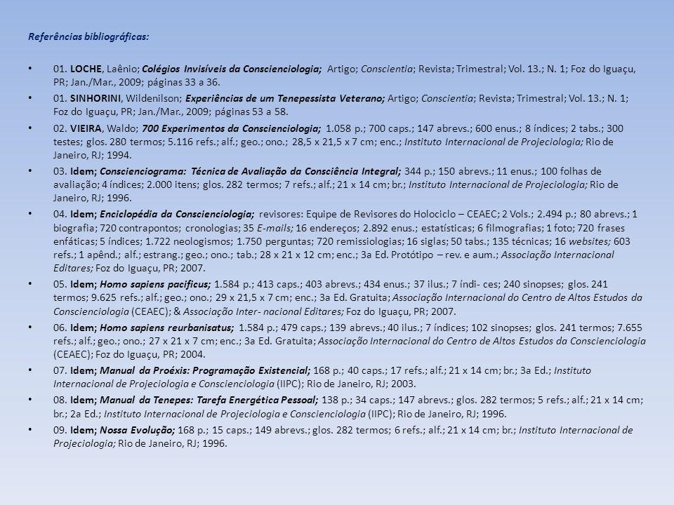 Referências bibliográficas: 01. LOCHE, Laênio; Colégios Invisíveis da Conscienciologia; Artigo; Conscientia; Revista; Trimestral; Vol. 13.; N. 1; Foz