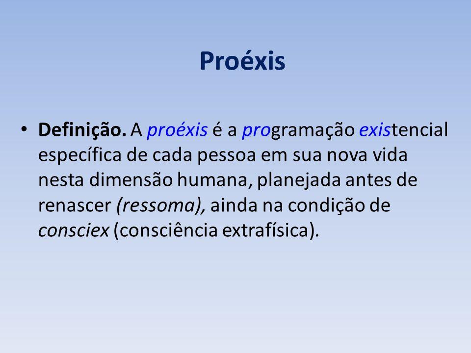 Proéxis Definição. A proéxis é a programação existencial específica de cada pessoa em sua nova vida nesta dimensão humana, planejada antes de renascer