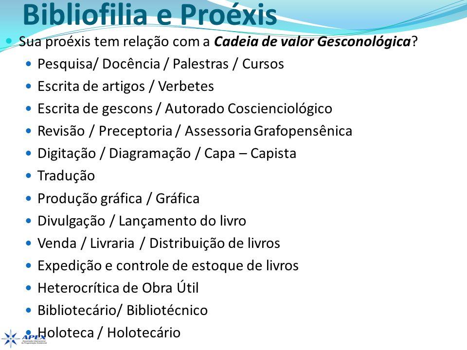Bibliofilia e Proéxis Sua proéxis tem relação com a Cadeia de valor Gesconológica? Pesquisa/ Docência / Palestras / Cursos Escrita de artigos / Verbet