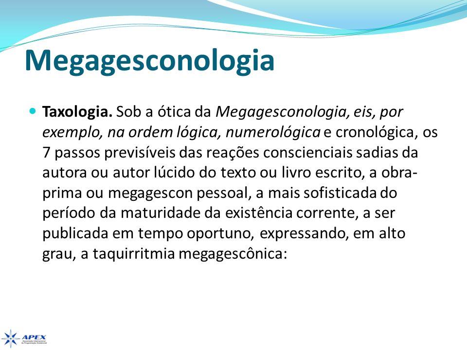 Megagesconologia Taxologia. Sob a ótica da Megagesconologia, eis, por exemplo, na ordem lógica, numerológica e cronológica, os 7 passos previsíveis da