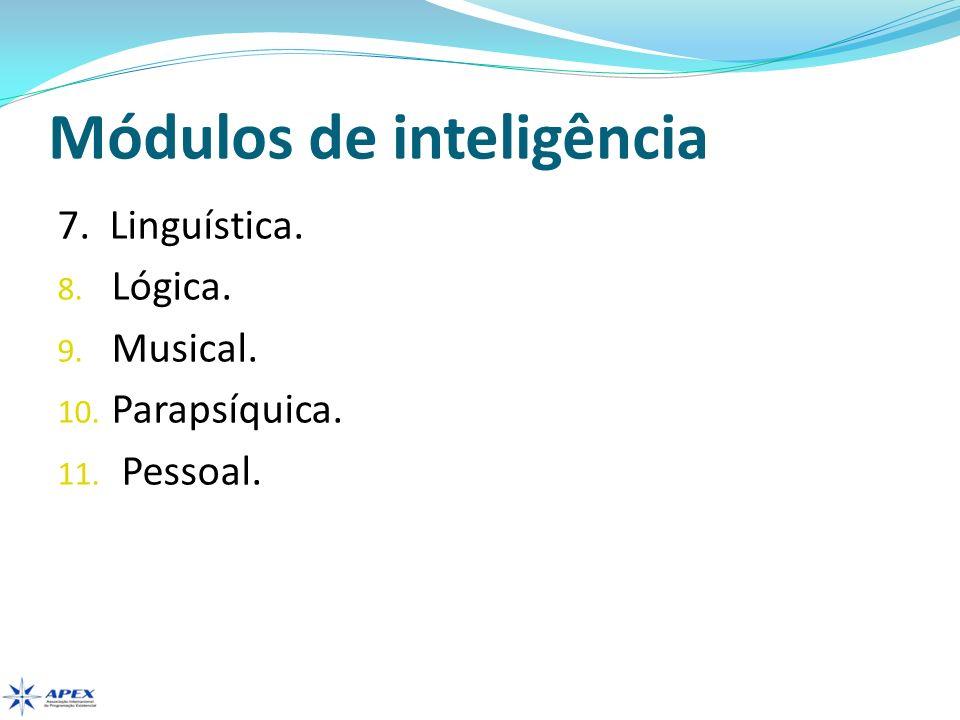Módulos de inteligência 7. Linguística. 8. Lógica. 9. Musical. 10. Parapsíquica. 11. Pessoal.