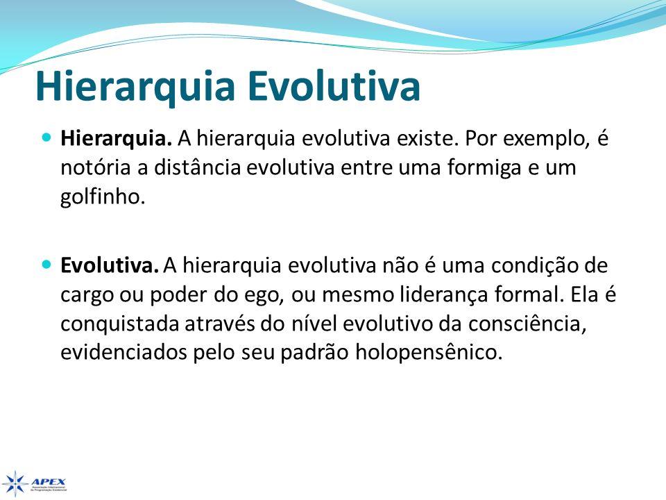 Hierarquia Evolutiva Hierarquia. A hierarquia evolutiva existe. Por exemplo, é notória a distância evolutiva entre uma formiga e um golfinho. Evolutiv