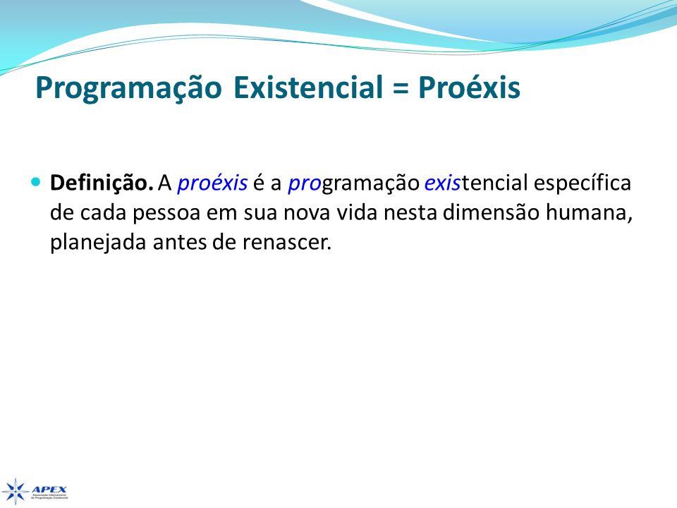 Programação Existencial = Proéxis Definição. A proéxis é a programação existencial específica de cada pessoa em sua nova vida nesta dimensão humana, p
