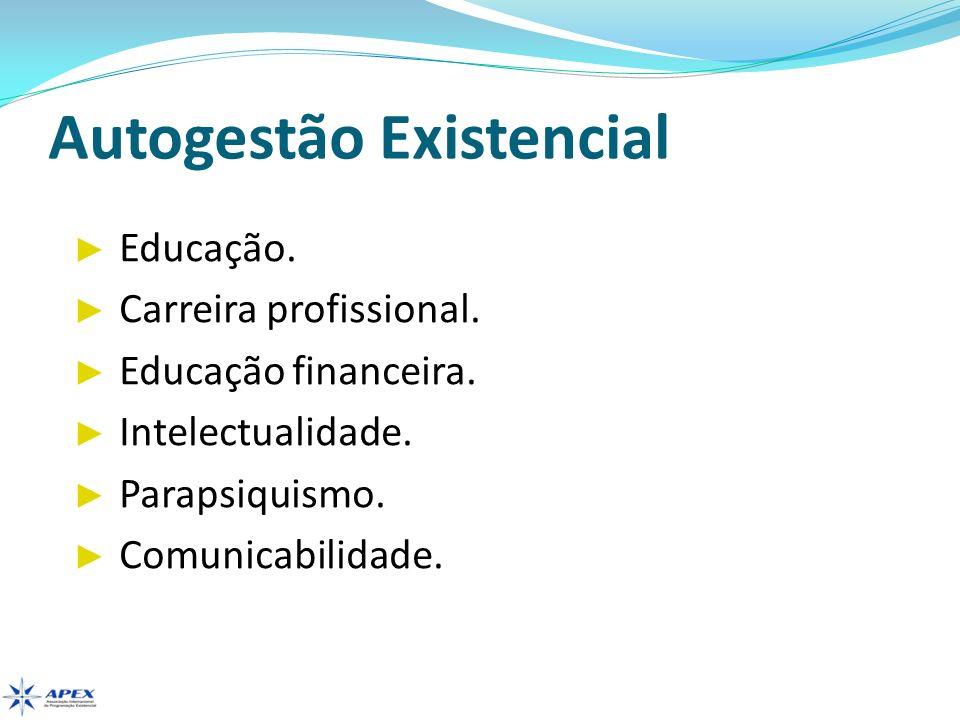 Autogestão Existencial Educação. Carreira profissional. Educação financeira. Intelectualidade. Parapsiquismo. Comunicabilidade.