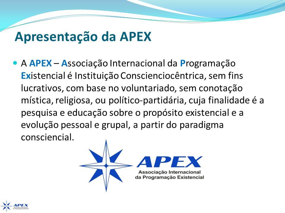 Apresentação da APEX A APEX – Associação Internacional da Programação Existencial é Instituição Conscienciocêntrica, sem fins lucrativos, com base no