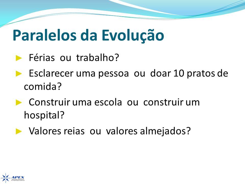 Paralelos da Evolução Férias ou trabalho? Esclarecer uma pessoa ou doar 10 pratos de comida? Construir uma escola ou construir um hospital? Valores re