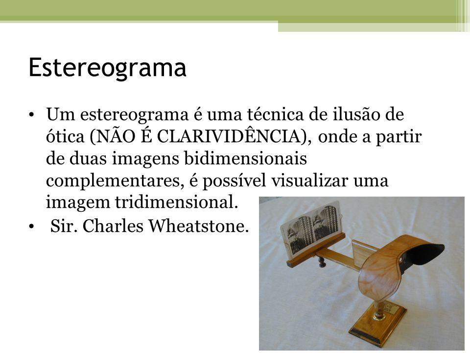 Estereograma Um estereograma é uma técnica de ilusão de ótica (NÃO É CLARIVIDÊNCIA), onde a partir de duas imagens bidimensionais complementares, é po