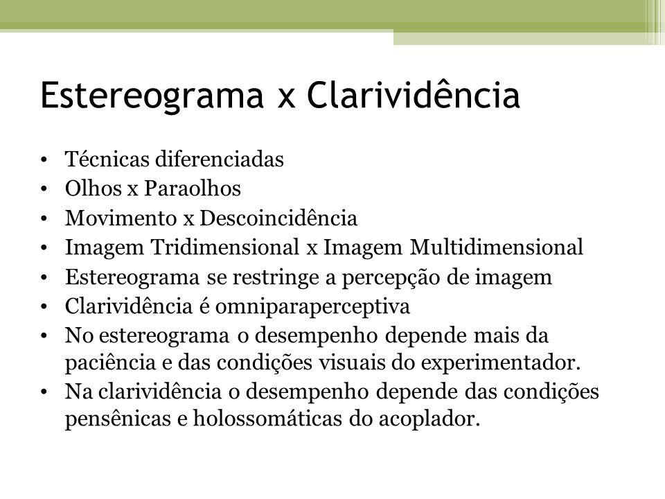 Estereograma x Clarividência Técnicas diferenciadas Olhos x Paraolhos Movimento x Descoincidência Imagem Tridimensional x Imagem Multidimensional Este