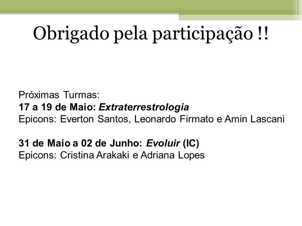 Obrigado pela participação !! Próximas Turmas: 17 a 19 de Maio: Extraterrestrologia Epicons: Everton Santos, Leonardo Firmato e Amin Lascani 31 de Mai