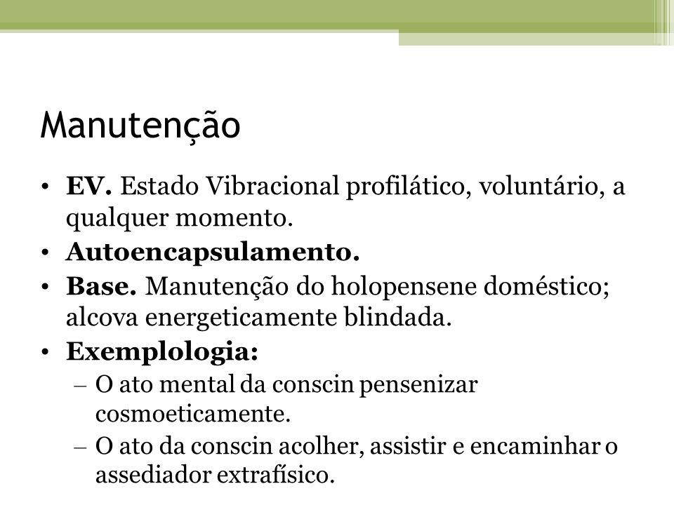 Manutenção EV. Estado Vibracional profilático, voluntário, a qualquer momento. Autoencapsulamento. Base. Manutenção do holopensene doméstico; alcova e
