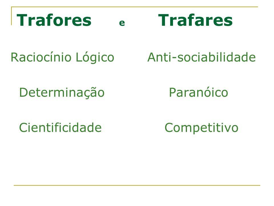 Trafores e Trafares Raciocínio LógicoAnti-sociabilidade Determinação Paranóico Cientificidade Competitivo