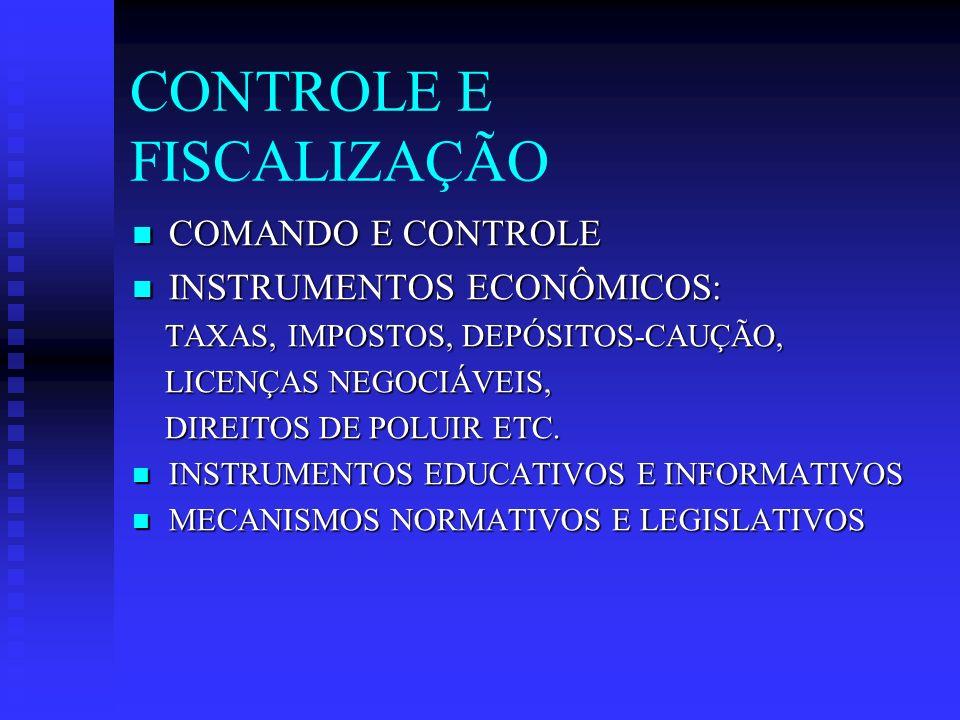 CONTROLE E FISCALIZAÇÃO COMANDO E CONTROLE COMANDO E CONTROLE INSTRUMENTOS ECONÔMICOS: INSTRUMENTOS ECONÔMICOS: TAXAS, IMPOSTOS, DEPÓSITOS-CAUÇÃO, TAXAS, IMPOSTOS, DEPÓSITOS-CAUÇÃO, LICENÇAS NEGOCIÁVEIS, LICENÇAS NEGOCIÁVEIS, DIREITOS DE POLUIR ETC.