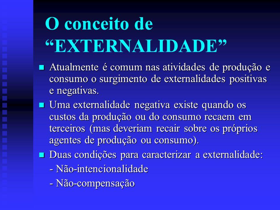 O conceito de EXTERNALIDADE Atualmente é comum nas atividades de produção e consumo o surgimento de externalidades positivas e negativas.