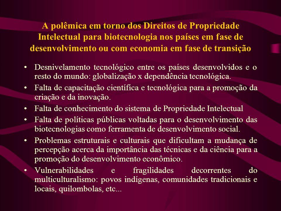 A polêmica em torno dos Direitos de Propriedade Intelectual para biotecnologia nos países em fase de desenvolvimento ou com economia em fase de transi