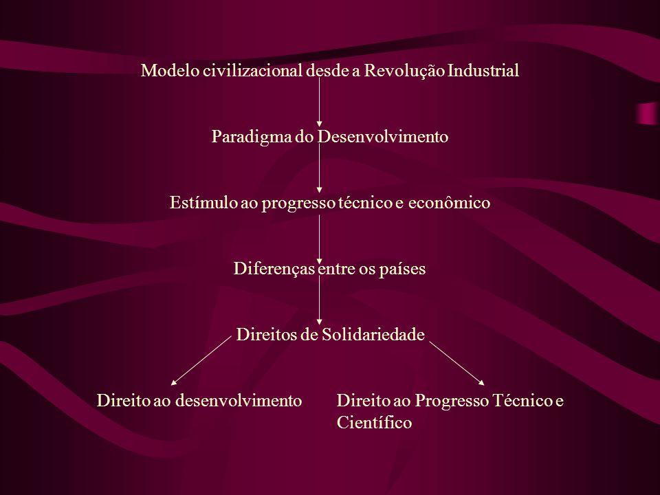 Modelo civilizacional desde a Revolução Industrial Paradigma do Desenvolvimento Estímulo ao progresso técnico e econômico Diferenças entre os países D