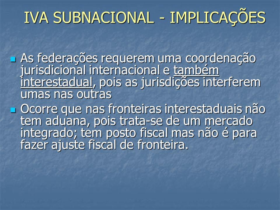 IVA SUBNACIONAL - IMPLICAÇÕES As federações requerem uma coordenação jurisdicional internacional e também interestadual, pois as jurisdições interferem umas nas outras As federações requerem uma coordenação jurisdicional internacional e também interestadual, pois as jurisdições interferem umas nas outras Ocorre que nas fronteiras interestaduais não tem aduana, pois trata-se de um mercado integrado; tem posto fiscal mas não é para fazer ajuste fiscal de fronteira.