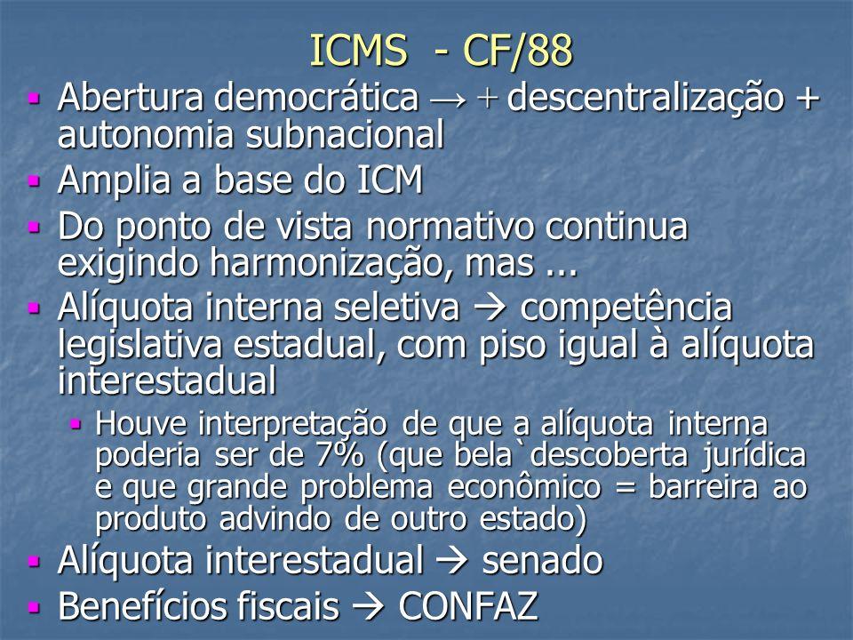 ICMS - CF/88 Abertura democrática + descentralização + autonomia subnacional Abertura democrática + descentralização + autonomia subnacional Amplia a base do ICM Amplia a base do ICM Do ponto de vista normativo continua exigindo harmonização, mas...