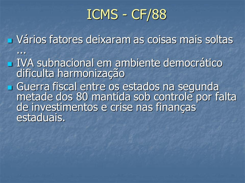 ICMS - CF/88 Vários fatores deixaram as coisas mais soltas...