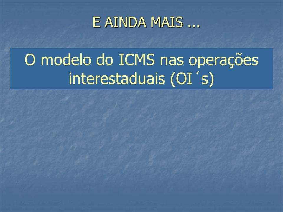 E AINDA MAIS... O modelo do ICMS nas operações interestaduais (OI´s)