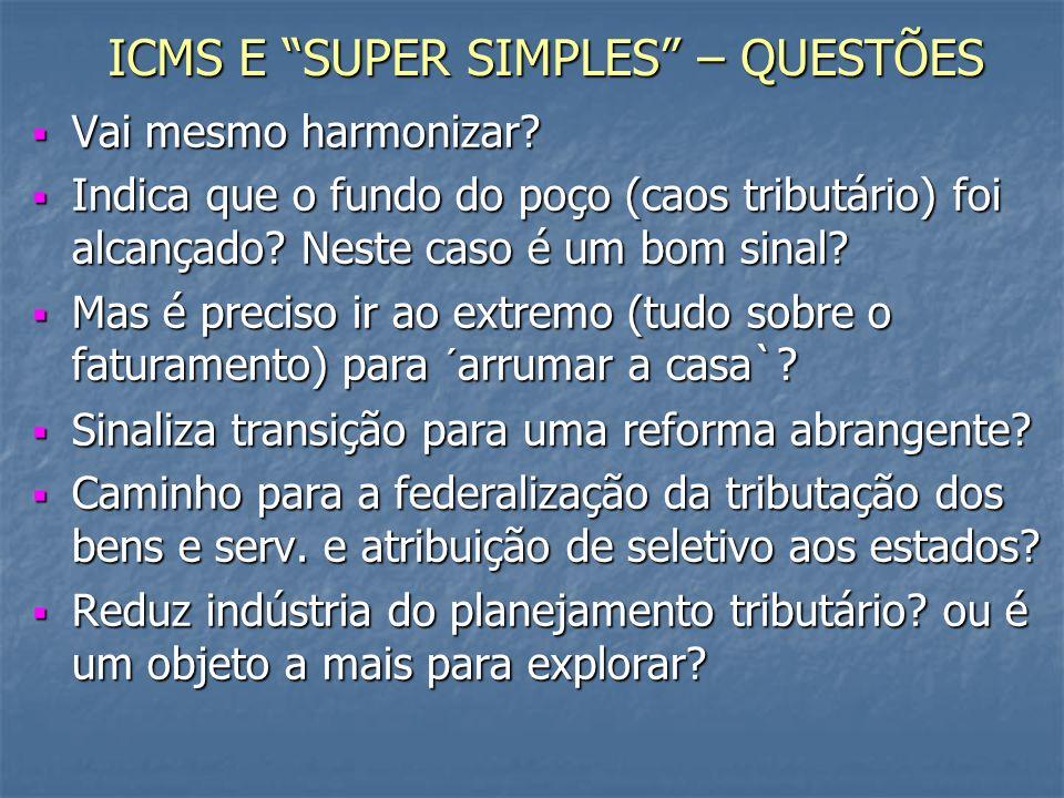 ICMS E SUPER SIMPLES – QUESTÕES Vai mesmo harmonizar.