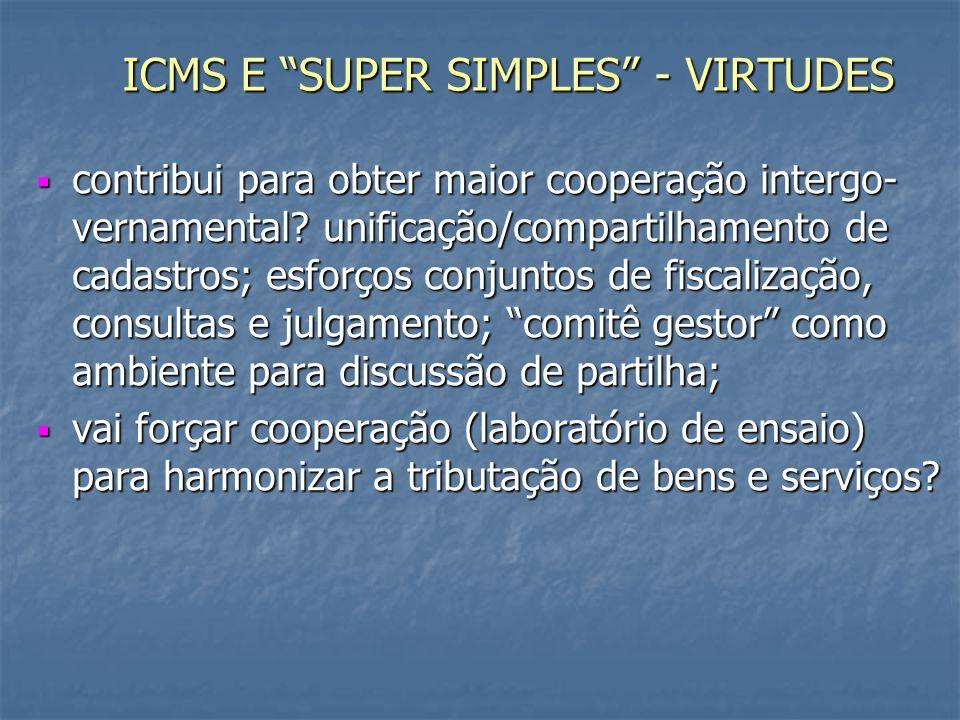 ICMS E SUPER SIMPLES - VIRTUDES contribui para obter maior cooperação intergo- vernamental.